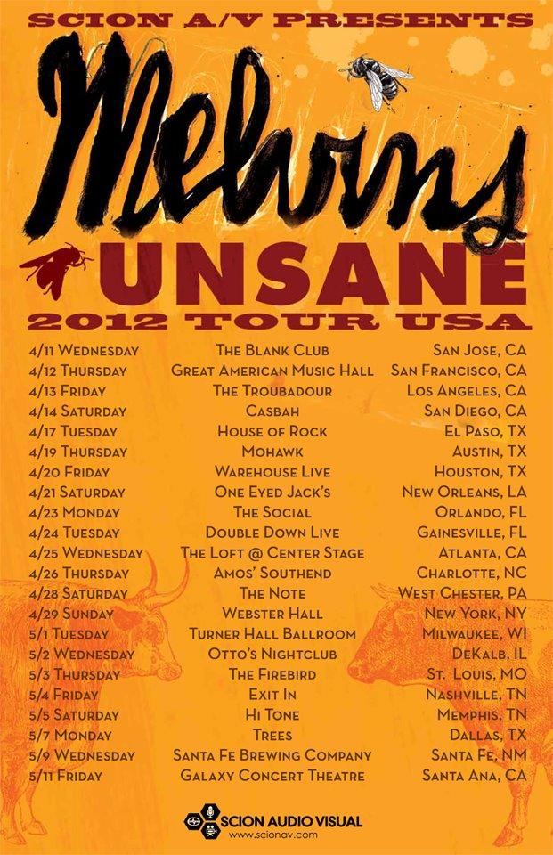 Melvins/Unsane 2012 U.S. Tour Poster